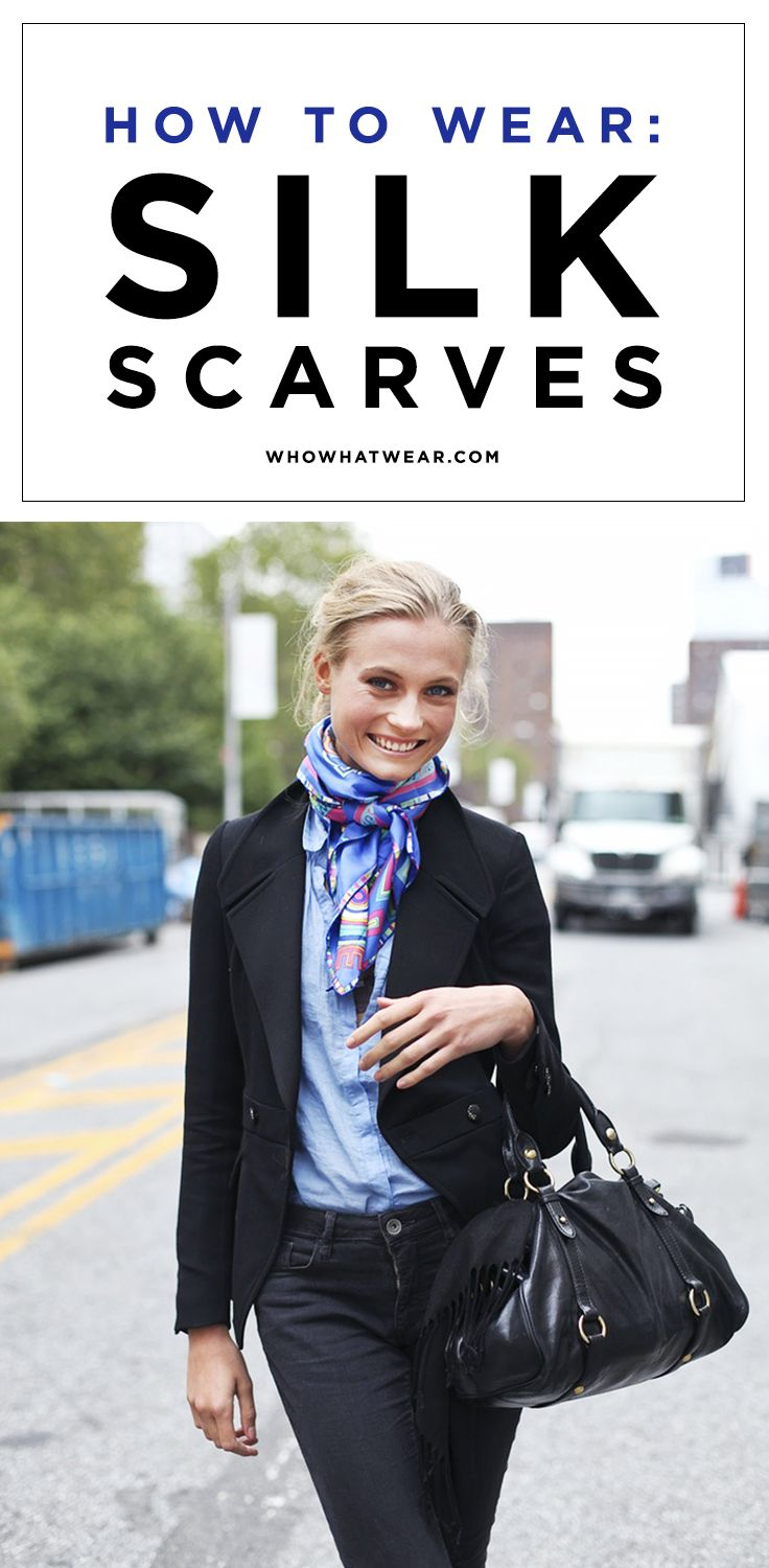#Scarves #Silk - How to wear silk scarves to achieve the coveted french-girl look.... http://www.lovelysilks.com