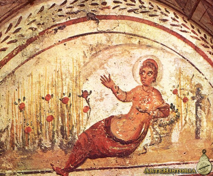 Catacomb of the Via Latina (Rome). Cleopatra With The asp in a wheat field