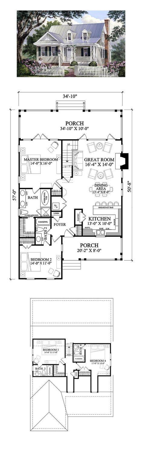 48 Best House Plans Images On Pinterest Home Plans Cottage Floor Impressive 4 Bedroom Cape Cod House Plans Minimalist