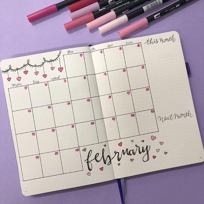 Planen Sie mit mir: Mein Februar wurde in meinem Bullet Journal eingerichtet – #Bullet #eingerichtet #Februar #Journal #mein