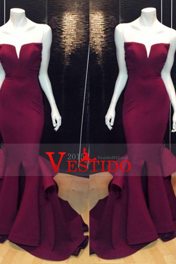 2016 Mellado escote vestidos de baile de satén de la sirena / trompeta Burdeos / Castaño