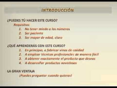 Video 1 - Curso Elaboración Artesanal de Vino de Frutas - YouTube