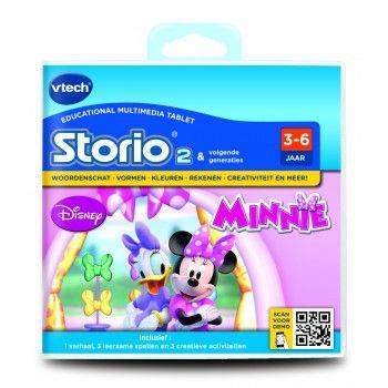 VTech Storio2 Game Minnie Mouse, 3-6 Jaar - Game exclusief voor gebruik met de Storio2. Inclusief: 1 verhaal, 3 leerzame spellen en 3 creatieve activiteiten. Lees een leuke verhaal over Minnie en haar vriendinnetjes, speel 3 leerzame spellen en organiseer een prachtige strikkenshow! Ook kun je zelf strikken ontwerpen en mooie foto's maken met Minnie Mouse stickers en fotolijstjes.