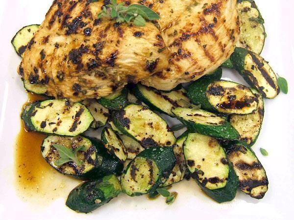 Grilled Greek Chicken & Zucchini ~ lemon juice, oregano, garlic, evoo, could serve with a side of fresh tzatziki