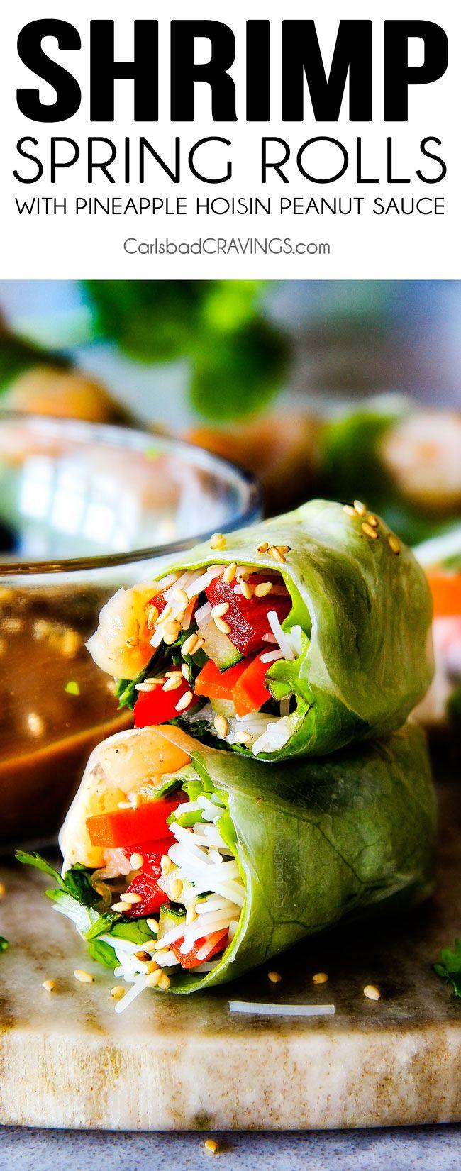 Estes insanamente deliciosos Fresh Shrimp Spring Rolls são uma explosão de sabor e textura em cada mordida viciante e super fácil de fazer com todas as minhas dicas e truques e fotos passo a passo!  Eo o abacaxi Hoisin amendoim molho é tudo!