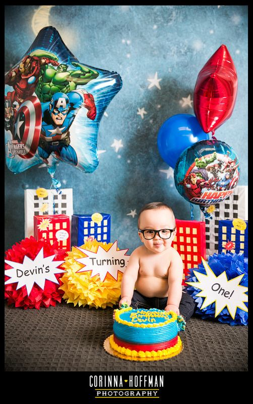 www.corinnahoffman.com - Baby Birthday Cake Smash Session - Jacksonville FL - Family Photographer - Superheroes