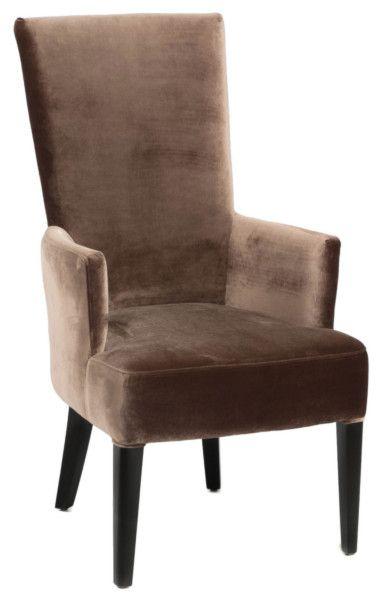 Размер (Ш*В*Г): 61*111*76 Аристократичный цвет и форма, напоминающая трон – эти стулья просто созданы окружать массивный деревянный стол в стиле Ар-Деко. Впрочем, если роскошь, пусть даже очень сдержанная, не отвечает Вашим представлениям об интерьере, такие предметы могут украсить собой и строгое, неяркое пространство столовой.             Материал: Ткань, Дерево.              Бренд: MHLIVING.              Стили: Арт-деко, Лофт.              Цвета: Коричневый.