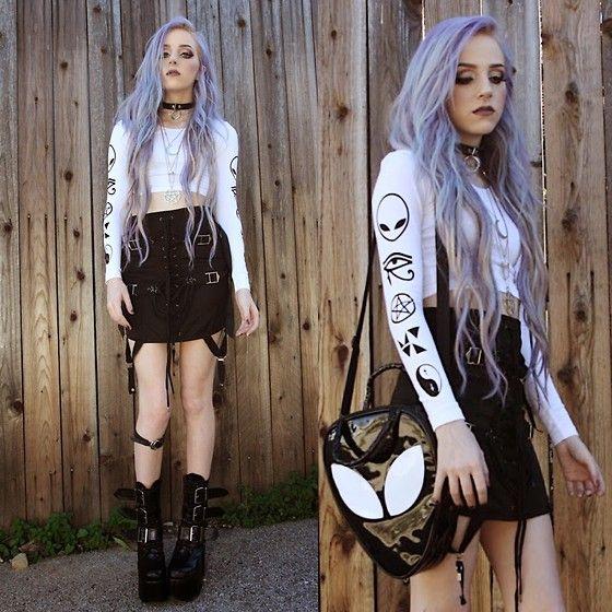 Myvl Clothing Symbols Crop, Unif Garter Skirt, Kill Star Purse, Demonia Torment Boots