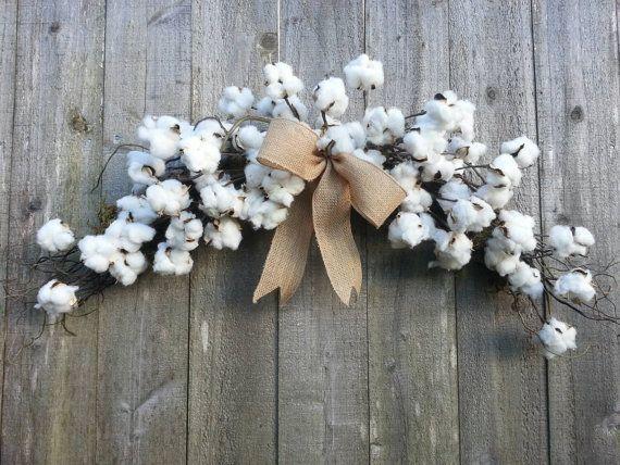 Cotton Boll Arch Swag Cotton Wreath By Twigs4u On Etsy