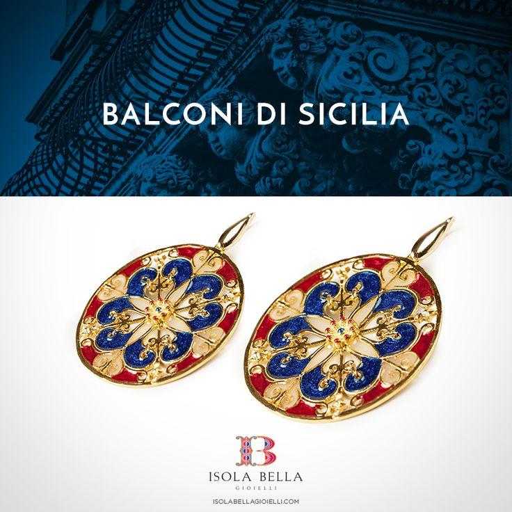 Le luci delle vetrate delle cattedrali, i decori delle facciate dei palazzi più belli: un omaggio al barocco di Sicilia e ai colori di una terra piena di contrasti e sfumature.  #Isolabellagioielli #orecchini #balconidiSicilia