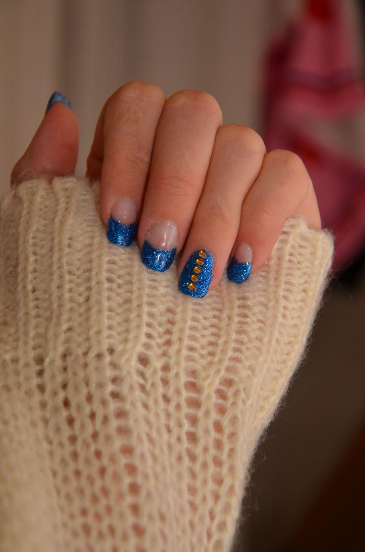 Gelnails, blue glitter