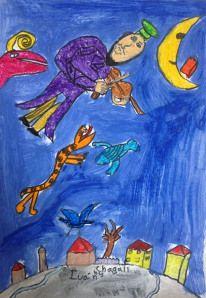 Chagall art project for kids.  Chagall y el violinista sobre el tejado, un projecto de arte para niños precioso.