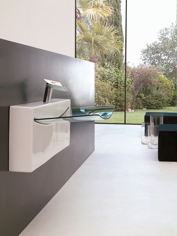 Bathroom:Mesmerizing Ultrasleek Washbasin For Small Bathroom Design Solutions With Marble Floor And Large Glass Windows With Garden View Its Awesome Small Bathroom Design Ideas To Inspire You Inspiring Small Bathroom Design Ideas with Beautiful and Attractive Washbasins
