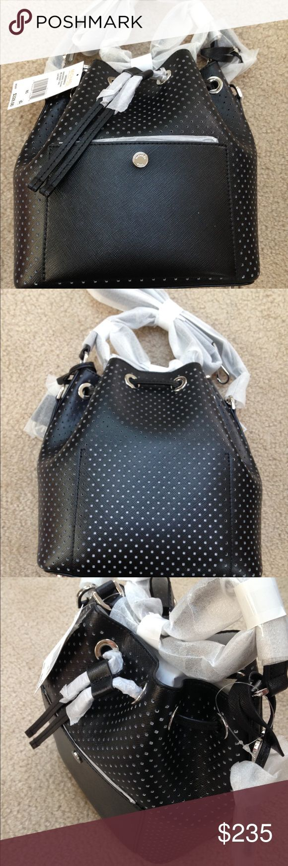 Michael Kors Medium Greenwich Bucket Bag Michael Kors Medium Greenwich Bucket Bag in black with white perforations, brand new with tags and origami packaging, style number 30S6SGRM20. MICHAEL Michael Kors Bags Satchels