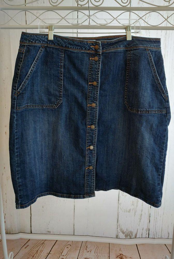 Liz Claiborne Women's Dark Wash Modest Jean Skirt Size 16 #LizClaiborne #StraightPencil