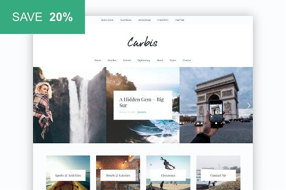 Carbis - Bold, Elegant WP Blog theme by Sculpture Qode on @creativemarket