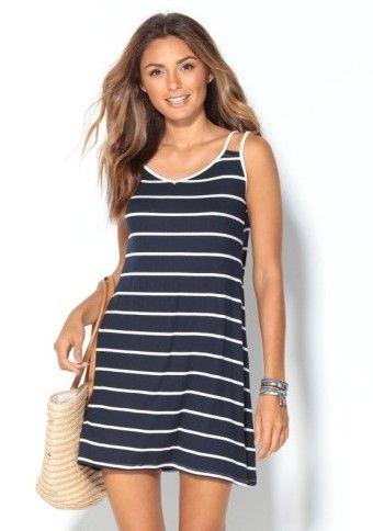 Prúžkované šaty s dvojitými ramienkami #Modinosk #dress #basic #navy #šaty