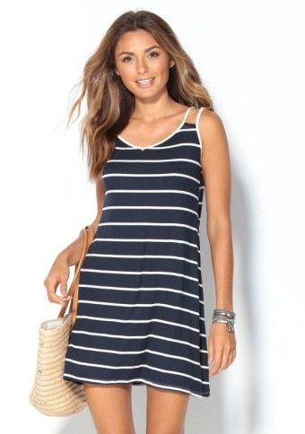 Proužkované šaty s dvojitými ramínky #ModinoCZ #casual #basic #dress
