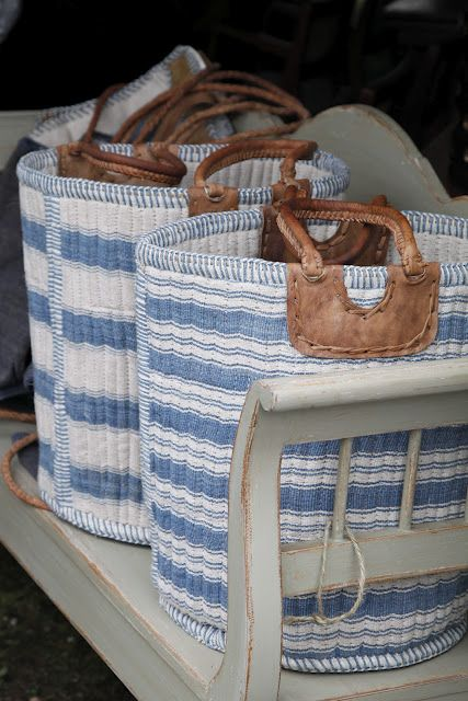 blue ticking baskets! I hear these are available at antique market in Brimfield, Massachusetts. Brimfield.com for dates.