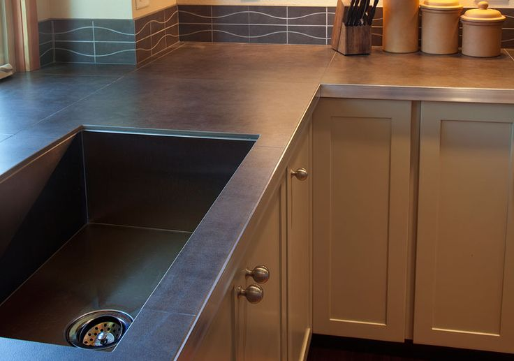 Porcelain Countertops With Metal Edge Modern Cabin