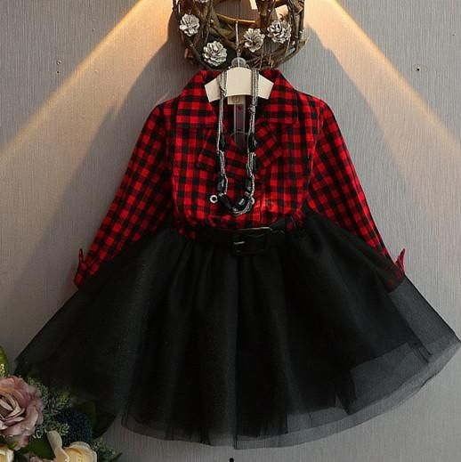 Fashion Girls Tutu Dresses Children's Costumes Sweet Spring Kids Girls Dress Plaid Full Sleeve Kids Outfits