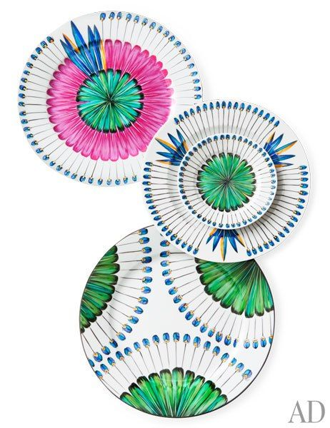 The DeVine Corporation's Bahia china, part of its Alberto Pinto collection. Pictured are two styles of charger, a dinner plate, and a bread plate; other pieces and colors are offered.