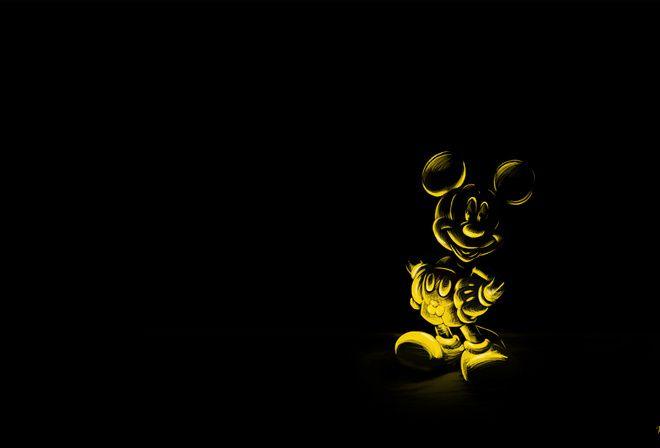 мышь, Черный фон, персонаж, микки маус, мультфильм