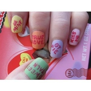 I don't pin nail things, but these are really cute. Conversation hearts
