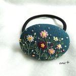 秋雨の日 刺繍ヘアゴム 5.5 ブローチへ変更可能 ☆