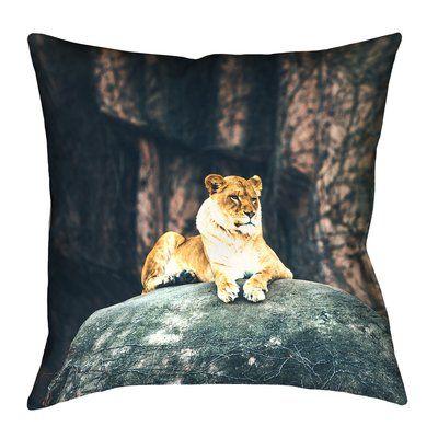 "Bloomsbury Market Thatcher Lioness Square 100% Cotton Pillow Cover Size: 16"" x 16"""