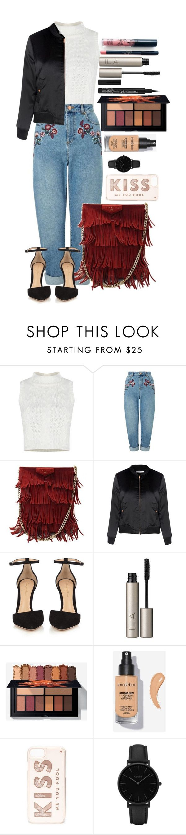 """Untitled #1704"" by fabianarveloc on Polyvore featuring Kylie Cosmetics, Miss Selfridge, Glamorous, Gianvito Rossi, Ilia, Kate Spade and CLUSE"