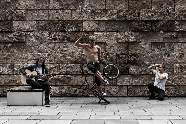 a self portrait of the 3 passions in my life ( guitar, bmx flatland and photography)