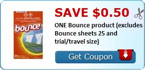 New Coupon!  Save $0.50 ONE Bounce product (excludes Bounce sheets 25 and trial/travel size) - http://www.stacyssavings.com/new-coupon-save-0-50-one-bounce-product-excludes-bounce-sheets-25-and-trialtravel-size/