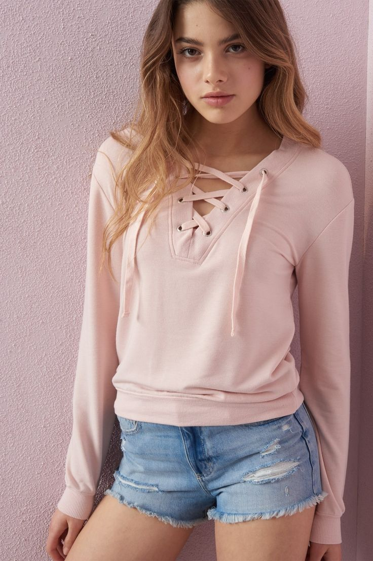 Lace me to the top Front Lace Up Sweatshirt