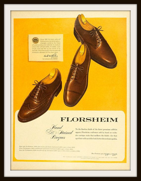 1963 Florsheim Hand Stained Brogues Shoe by vintageadsnprints