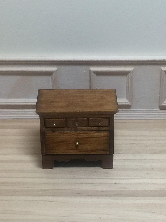1//12 Dollhouse Minatures Wood Bedside Table Cabinet Furniture Nightstand