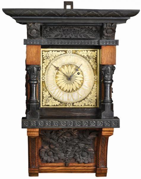 Reloj de pared  fabricante desconocido (Cincinnati, Ohio), ca.  1875-85, madera y bronce.