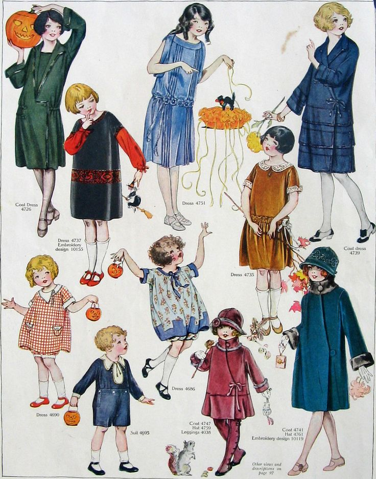 October 1923 Fashion Pattern Illustration - Children all Dressed up for Halloween Party - Trick or Treating - Way too Cute. $9.00, via Etsy.