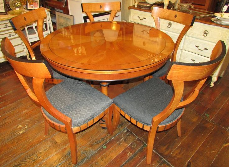 Ebay Dining Room Chairs Nat'l Mt. Airy Empire Style Round Table & 4 Chairs ...