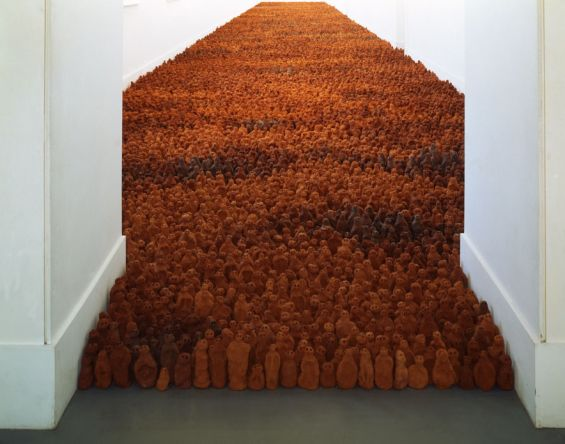 'Field' is an Antony Gormley installation of 35,000 clay figures made by a family of Mexican brick-makers. Gormley asked that the figures be easy to hold in one's hands and that the head and body be in proportion to one another.