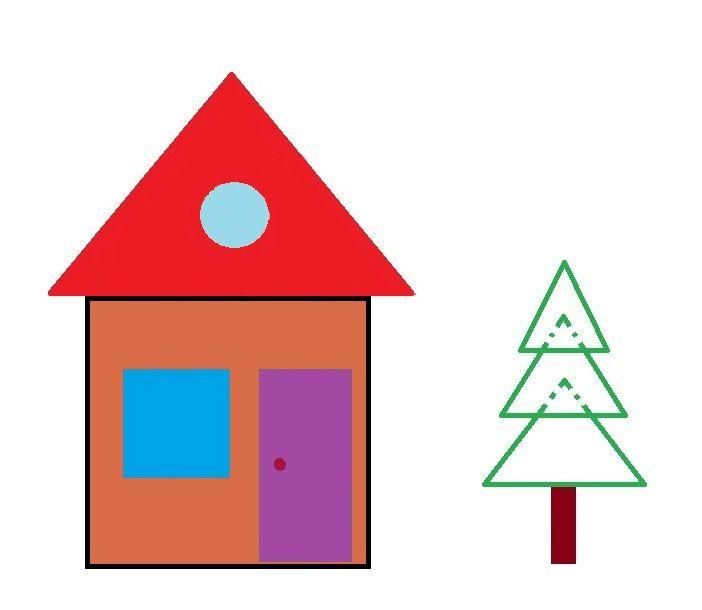 Домик из геометрических фигур картинка для детей