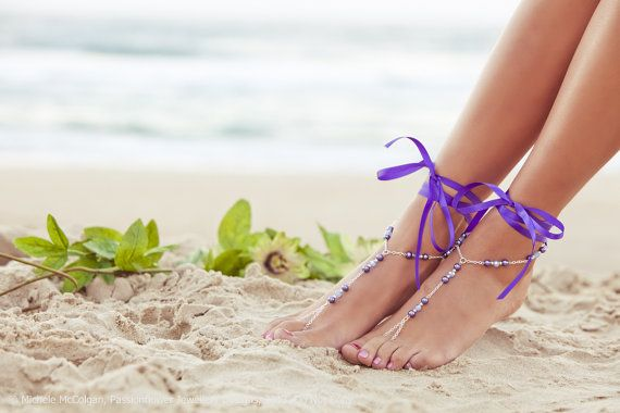 Wedding foot jewelry, purple bridesmaid jewlery, wedding anklet, beach wedding footless sandals, nude shoes. GEORGIA Purple