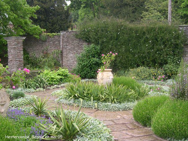 Hestercombe: les jardins formels Bordures grises: Stachys byzantina, plante vivace