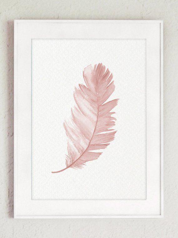Feder Aquarell Malerei Erroten Rosa Tier Illustration Vogel Feder