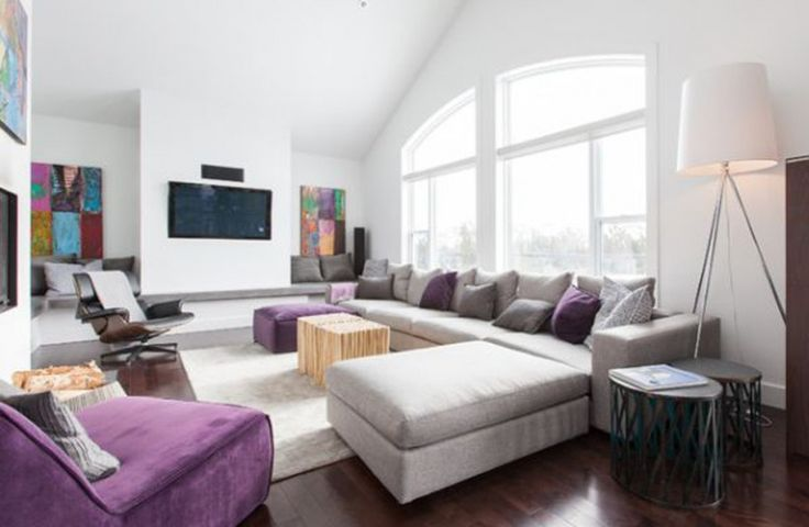 Living Room White Purple Accent Grey Sectional Sofa With Ottoman Pouffe Black Wood