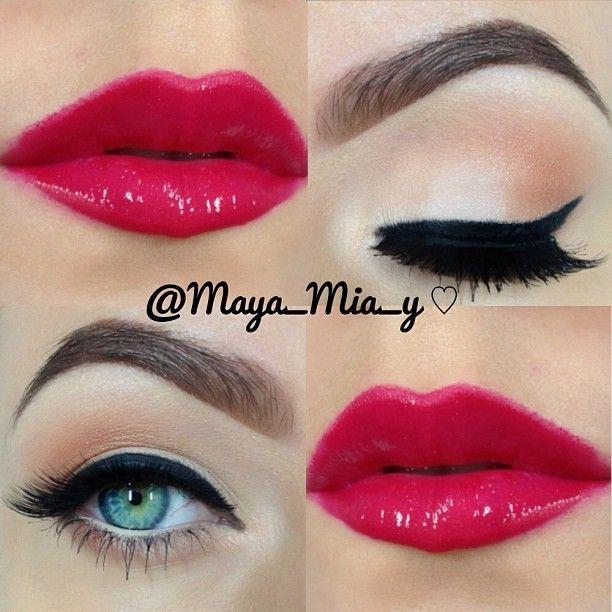 Peach Eyeshadow & Red Lip.