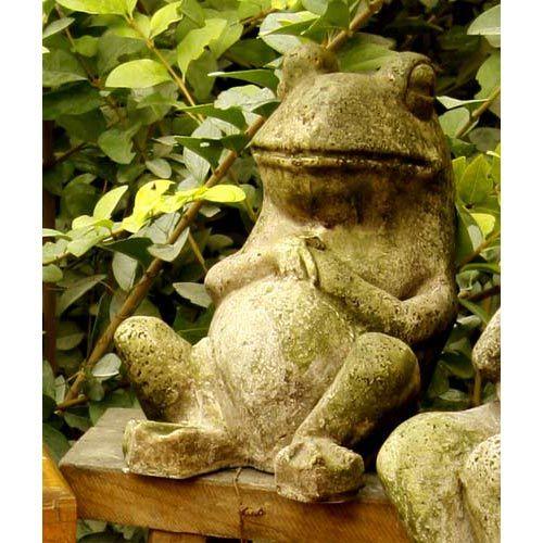 Laid Back Frog 7 Inch Fiberglass Statue   White Moss Finish