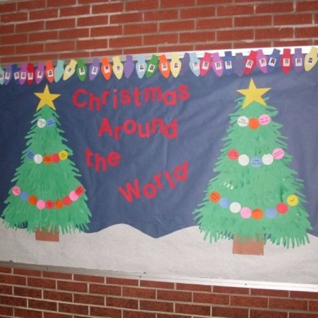 prodigious Christmas Around The World Bulletin Board Part - 3: A great Christmas bulletin board idea! The light bulbs are the border and  has the kidsu0027 picture inside of each bulb. The ornaments going au2026
