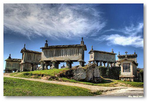 Ancient stone barns to store the grain. North Portugal  Espigueiros do Soajo  By Vitor Ribeiro Portugal