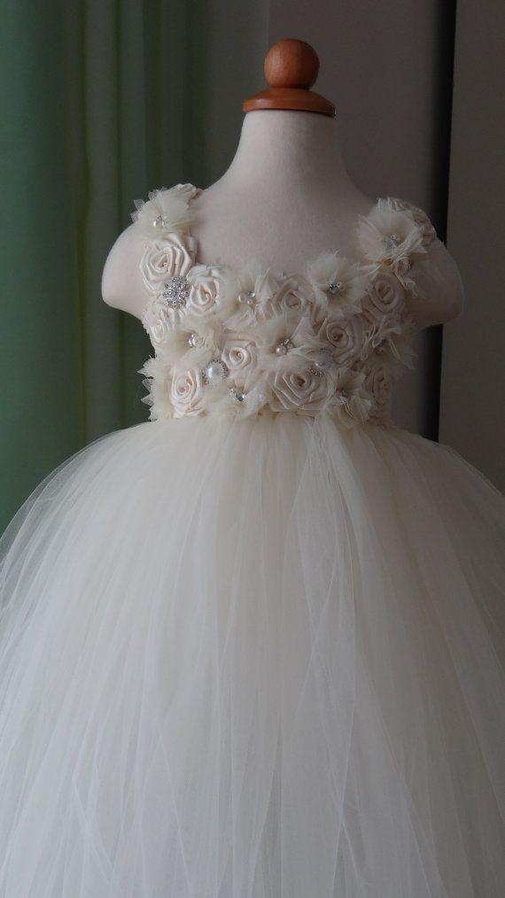 Flower Girl Dress.... Rosette top Tutu Dress.... by LureCouture